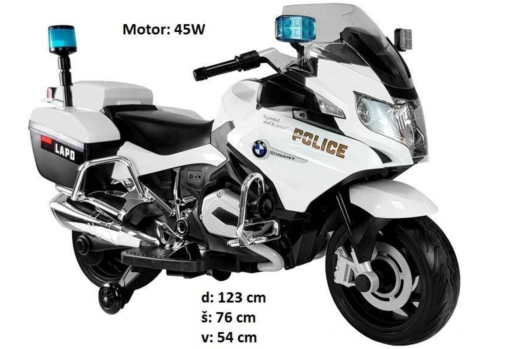 BMW OTROŠKI POLICIJSKI MOTOR 45W NA AKUMULATOR (bel)